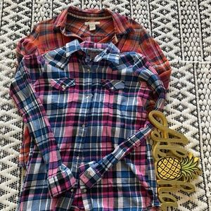 Lot of Two Flannel Plaid Shirts